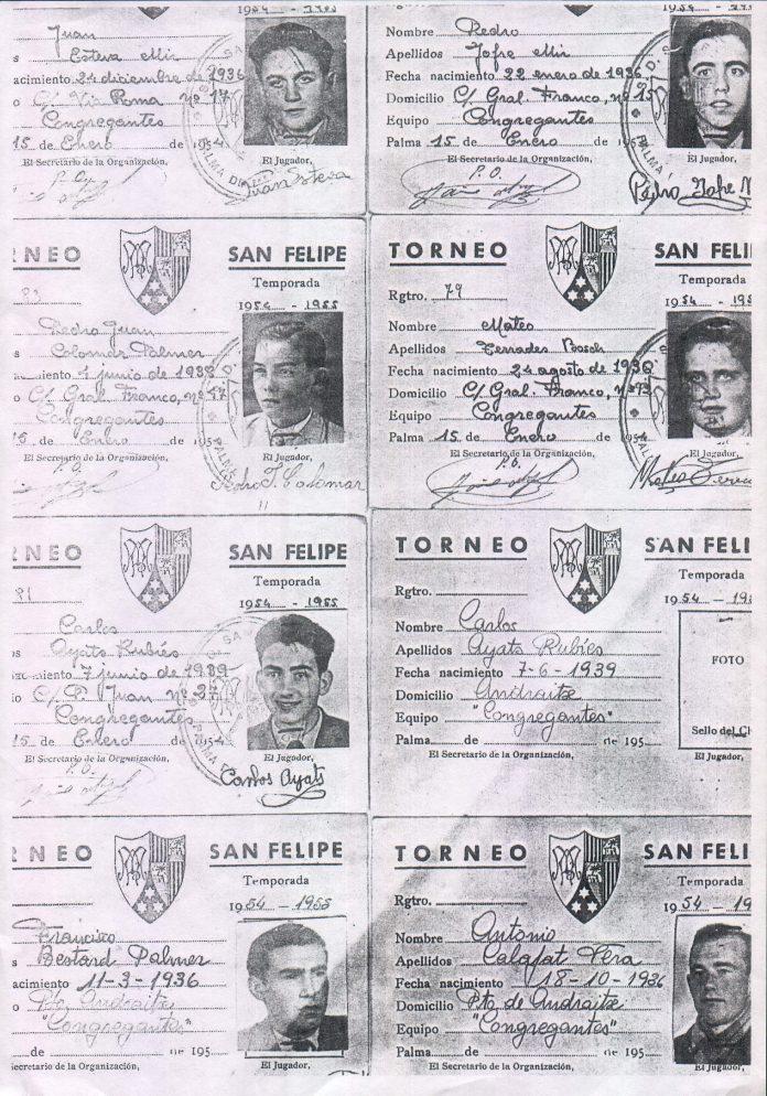 FICHAS TORNEO SAN FELIPE NERI (EQUIPO CONGREGANTES) - 1954